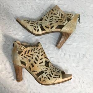 L'Artiste Amora Beige Leather Peep Heels EUC 8.5